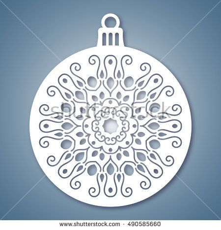 Christmas ball with snowflake. Laser Cutting template for greeting ...