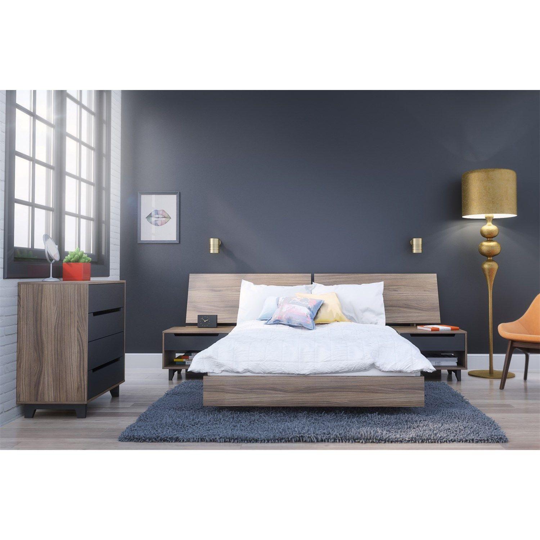 Nexera 400692 Alibi Full Size Platform Bed, Panoramic Headboard, Nightstand  And Chest Bedroom Set