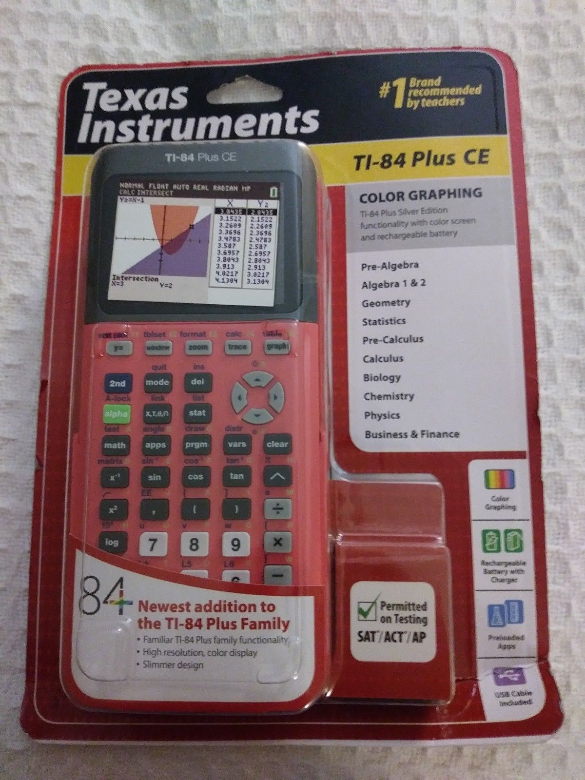 Texas Instruments Ti 84 Plus Ce Color Graphing Calculator