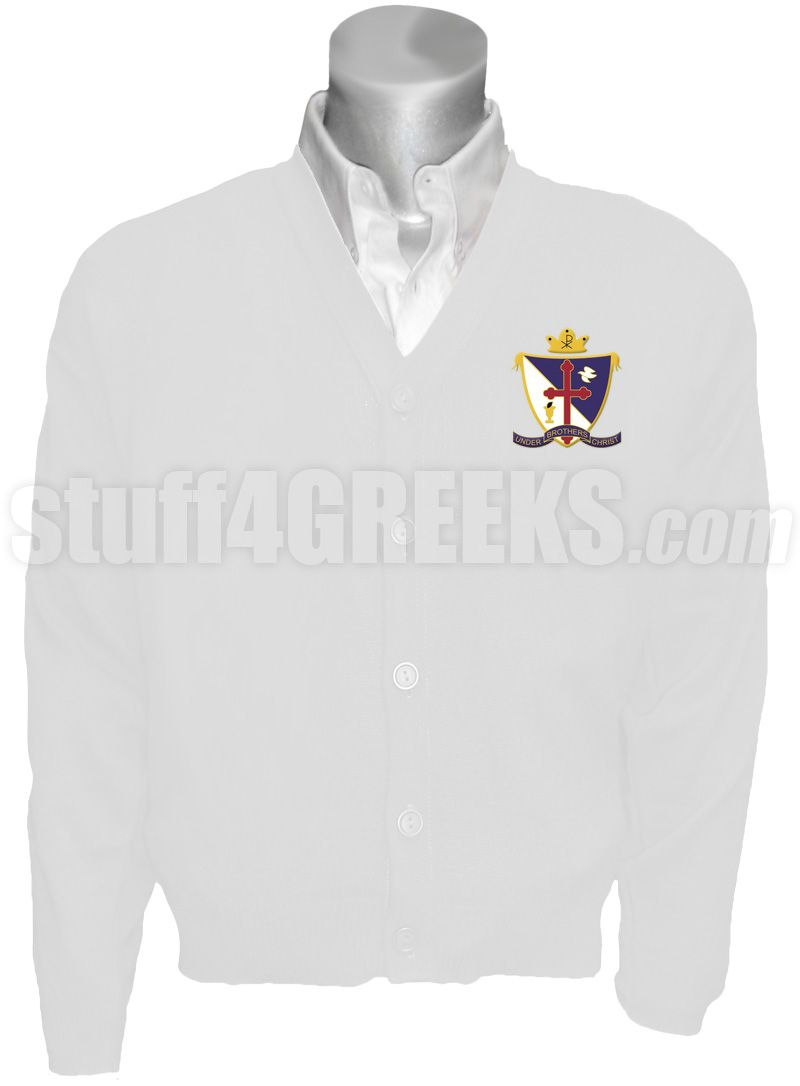 White Beta Upsilon Chi cardigan sweater with the crest on the left breast.