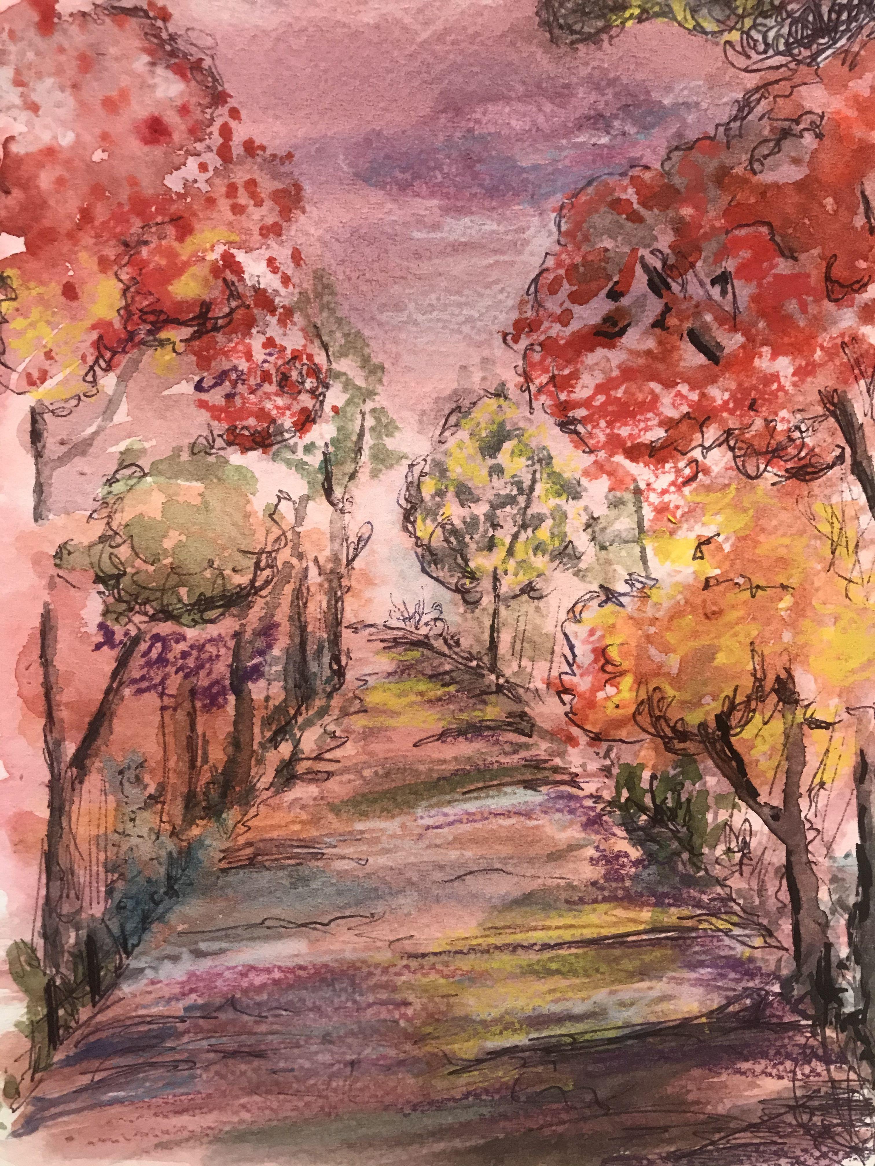 Herbst Farbenfrohe Aquarell Natur Zeichnen Aquarell