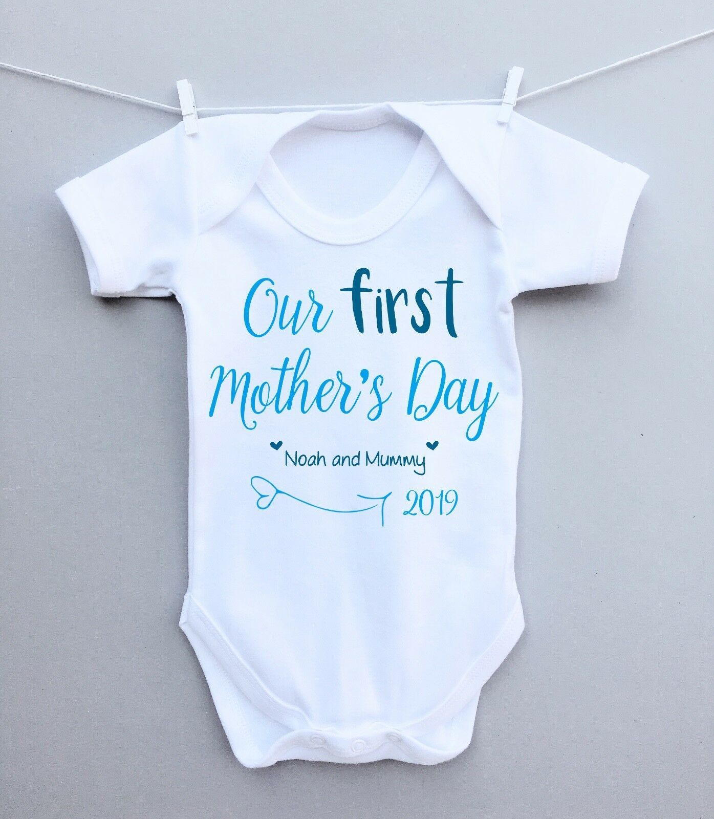 Personalised First Mothers Day Baby Sleepsuit Gift Present for Babies