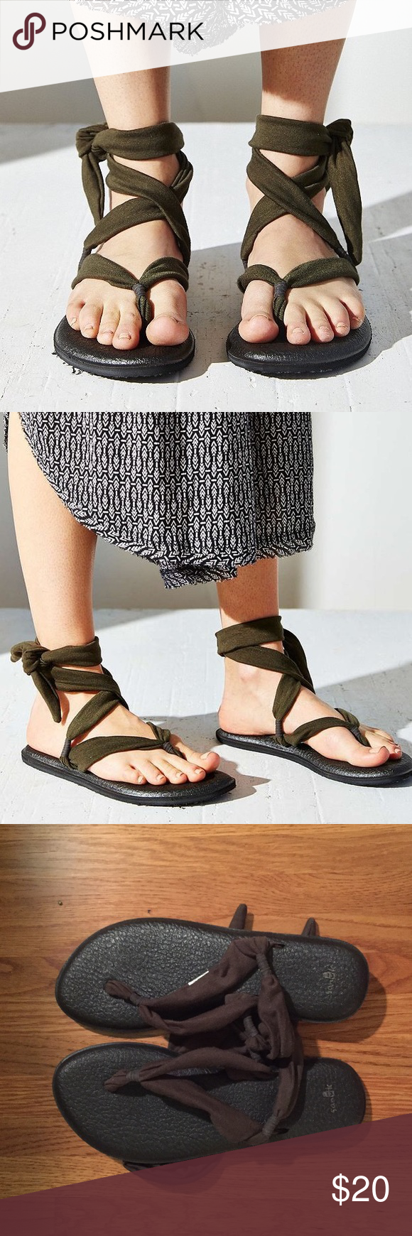 Sanuk Tie Slinged Up Yoga Sandal Green These shoes are so incredibly cute and comfortable! They are amazing. I only wore them once to a church picnic and they were so comfy. They look brand new! Sanuk Shoes Sandals