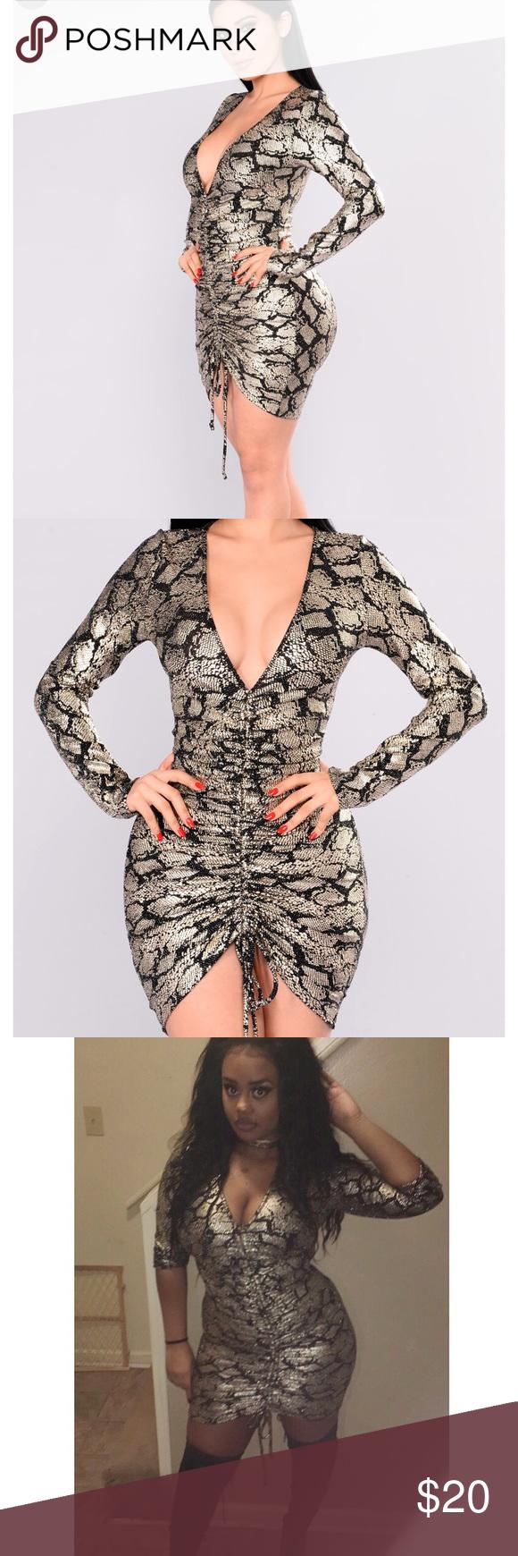 Gold Metallic Snakeskin Dress (With images) Fashion nova