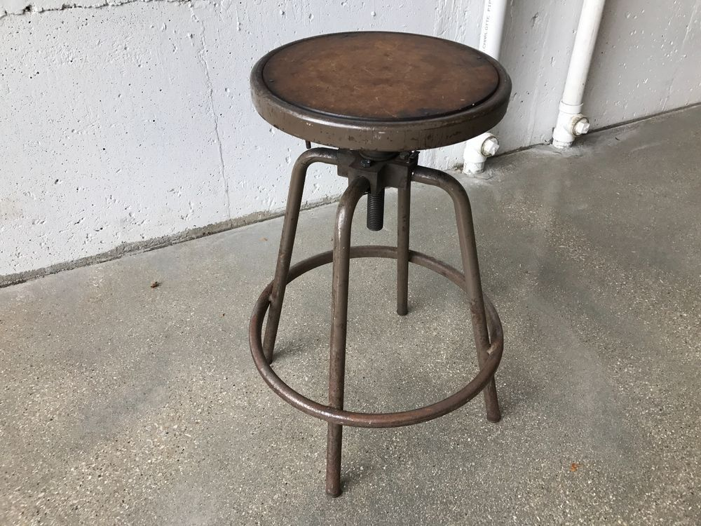 Details About Vintage 1920s Industrial Drafting Stool W/ Adjustable Telescoping  Seat