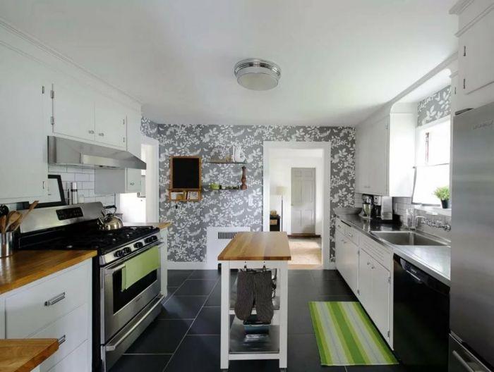wohnideen küche florale tapete erfrischt das küchendesign - wandgestaltung in der küche