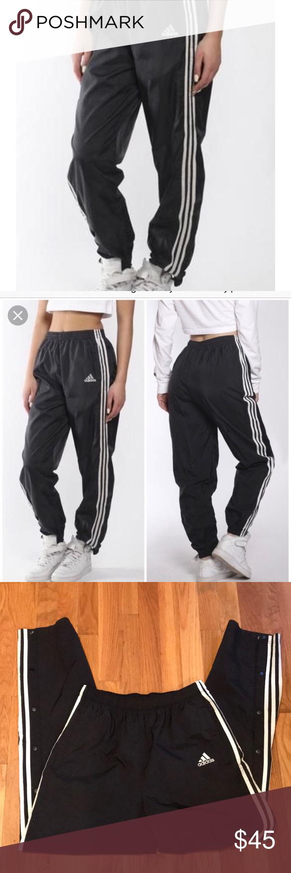 Adidas Vintage Black Tear Away Track Pants Lightweight