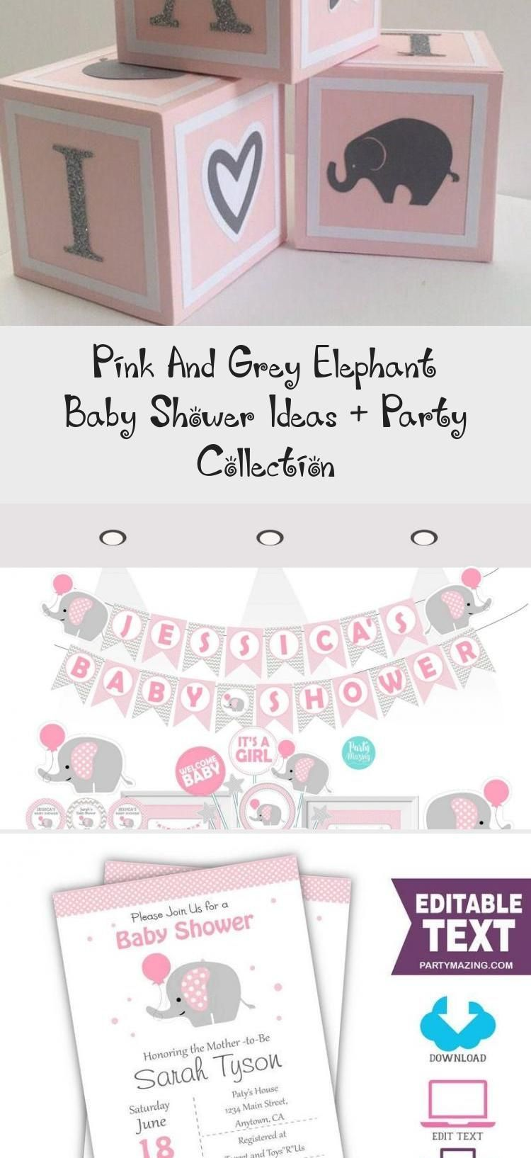 Pink And Grey Elephant Baby Shower Ideas + Party Collection - health and diet fitness -  Pink and Gr...