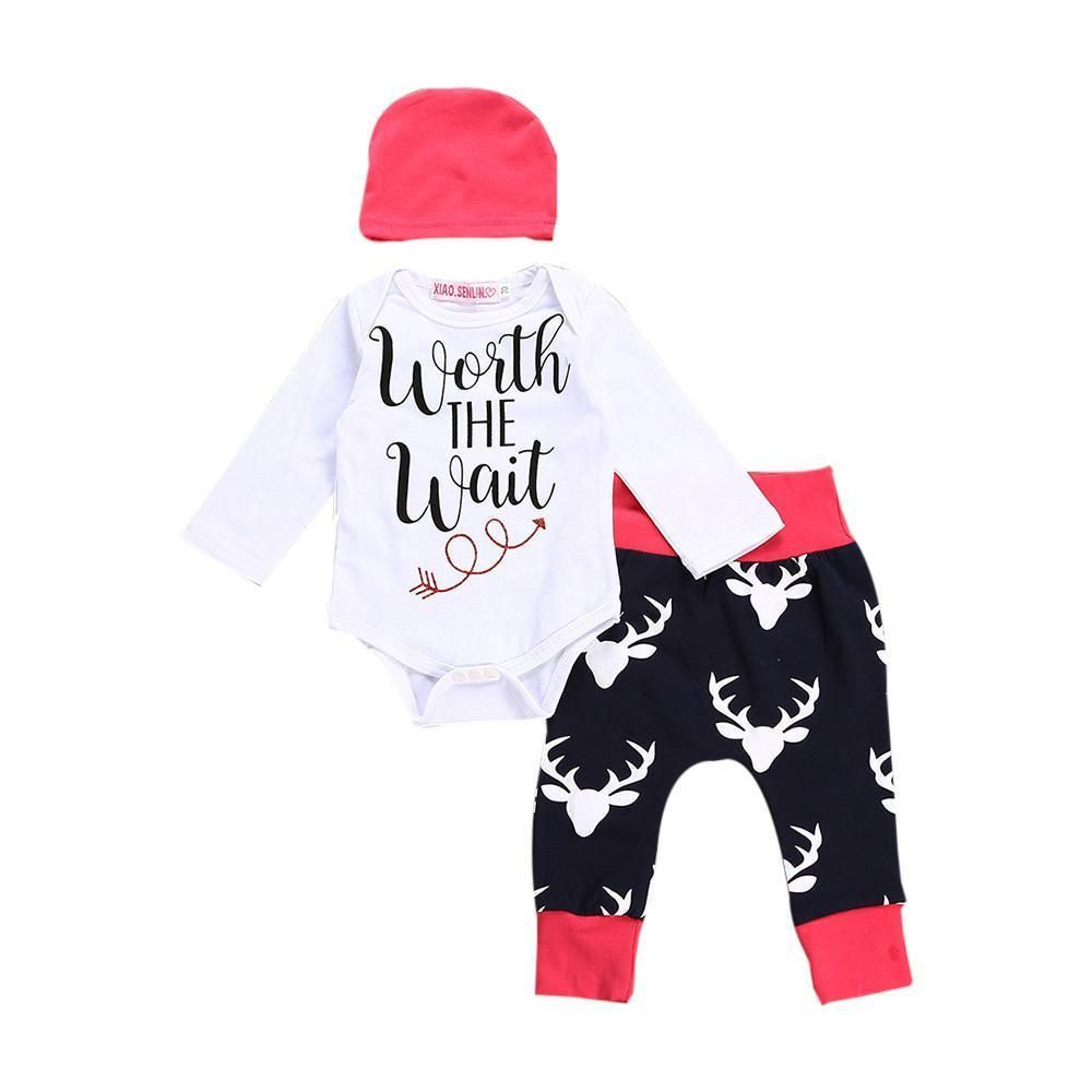 9c84fbdee59 3PCS Infant Baby boy girls Clothes setFirst Christmas Letter Romper Tops  Deer Pa  fashion  clothing  shoes  accessories  babytoddlerclothing ...