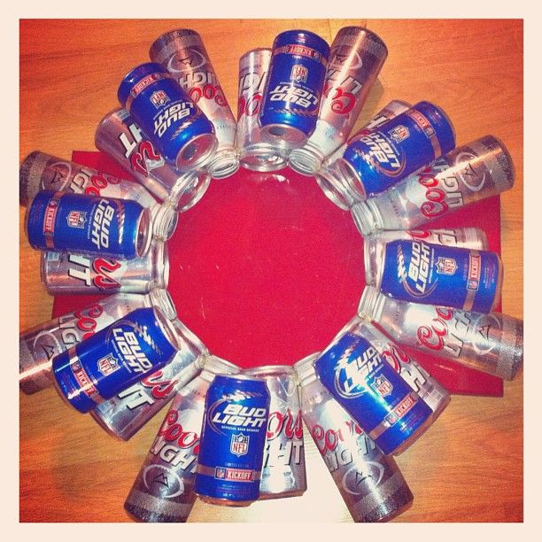 beer can craft ideas made can wreath for the hubbys bar craft ideas 3433