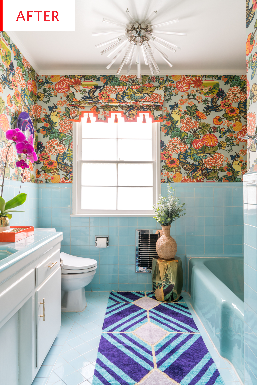 Before And After This Bathroom Keeps Its Original Beautiful Tiles Retro Bathrooms Vintage Bathrooms Blue Bathroom Tile