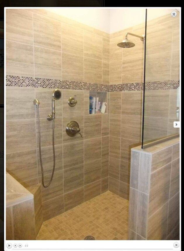 Walk in shower 1/2 wall and rain head with hand held | master bath ...