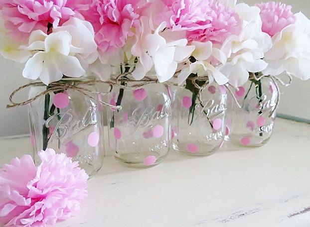 Pink polka dot mason jar centerpieces baby shower mason for Pink polka dot decorations