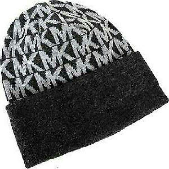 Michael Kors Grey Signature MK Pattern Beanie MK Michael Kors Accessories Hats