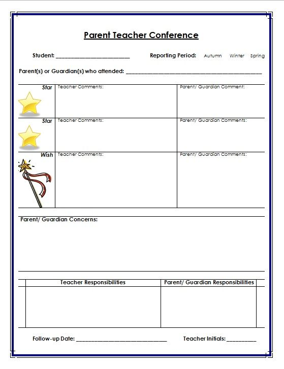 Parent Teacher Conference Record Sheet  Teacher S Marketplace