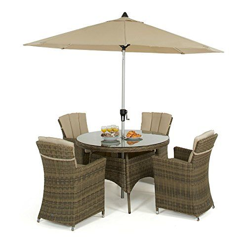 Maze Rattan Winchester 4 Seater Round with Carver Chairs Garden