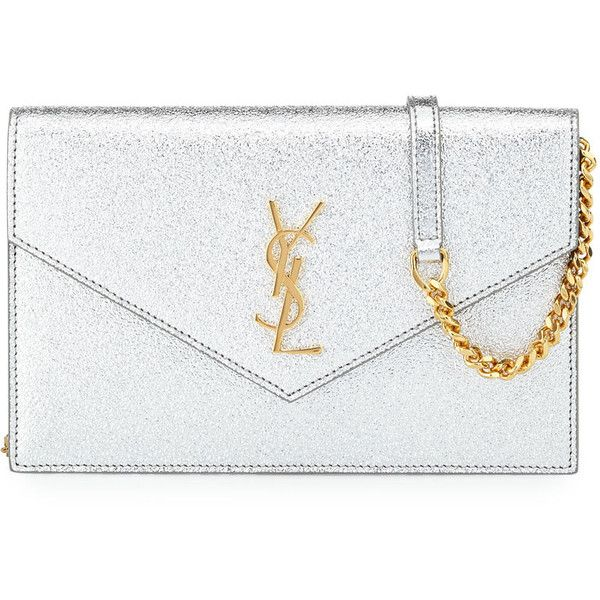 Saint Laurent Monogram Small Pebble Leather Wallet-on-Chain Bag (€1.235) ❤ liked on Polyvore featuring bags, wallets, flap bag, chain wallet, snap wallet, metallic bag and metallic wallet