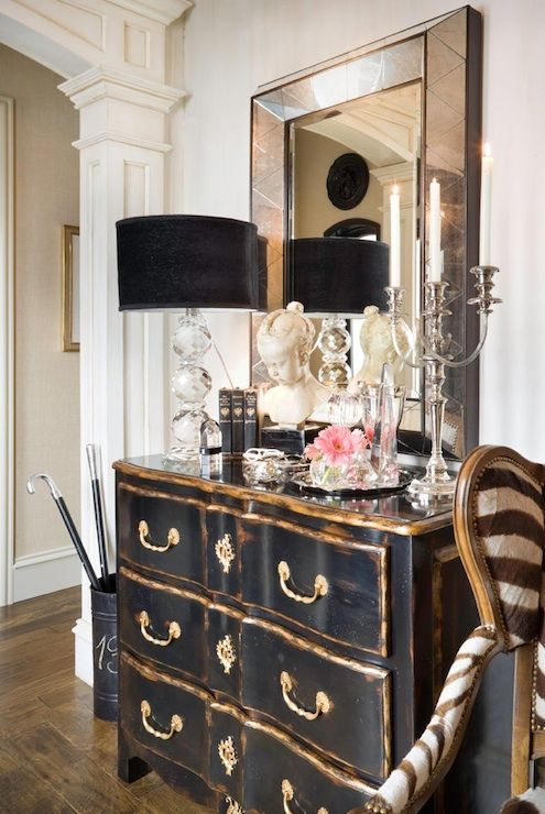 Joy Tribout Chic French Foyer With Beveled Mirror Vintage Black Chest