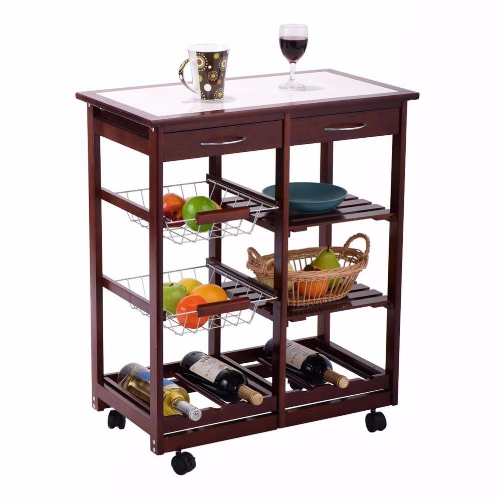 Wine Rack Rolling Kitchen Cart Utility