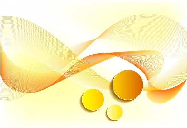 المستخلص خلفية صفراء التصميم المنحني ديكور خطوط الدوائر Abstract Abstract Artwork Vector Free