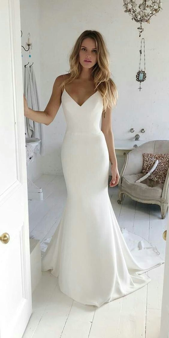 Charming V neck Sweep Train Mermaid Prom Dresses with Spaghetti Straps, Long Evening Dress #gorgeousgowns