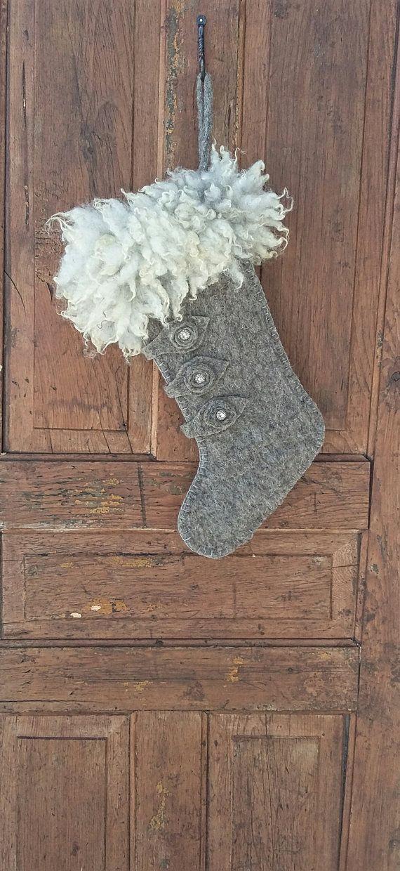 Large Christmas stocking with fur cuff wool felted heather grey gray shetland sheep niamh