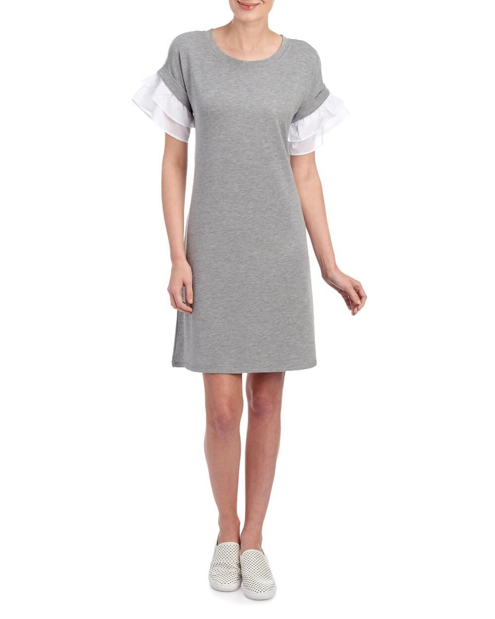 French Terry Ruffled Sleeve Shift Dress Day Casual Shop By Occasion Dresses Stein Mart Clothes Shift Dress Dresses For Work [ 1250 x 1000 Pixel ]