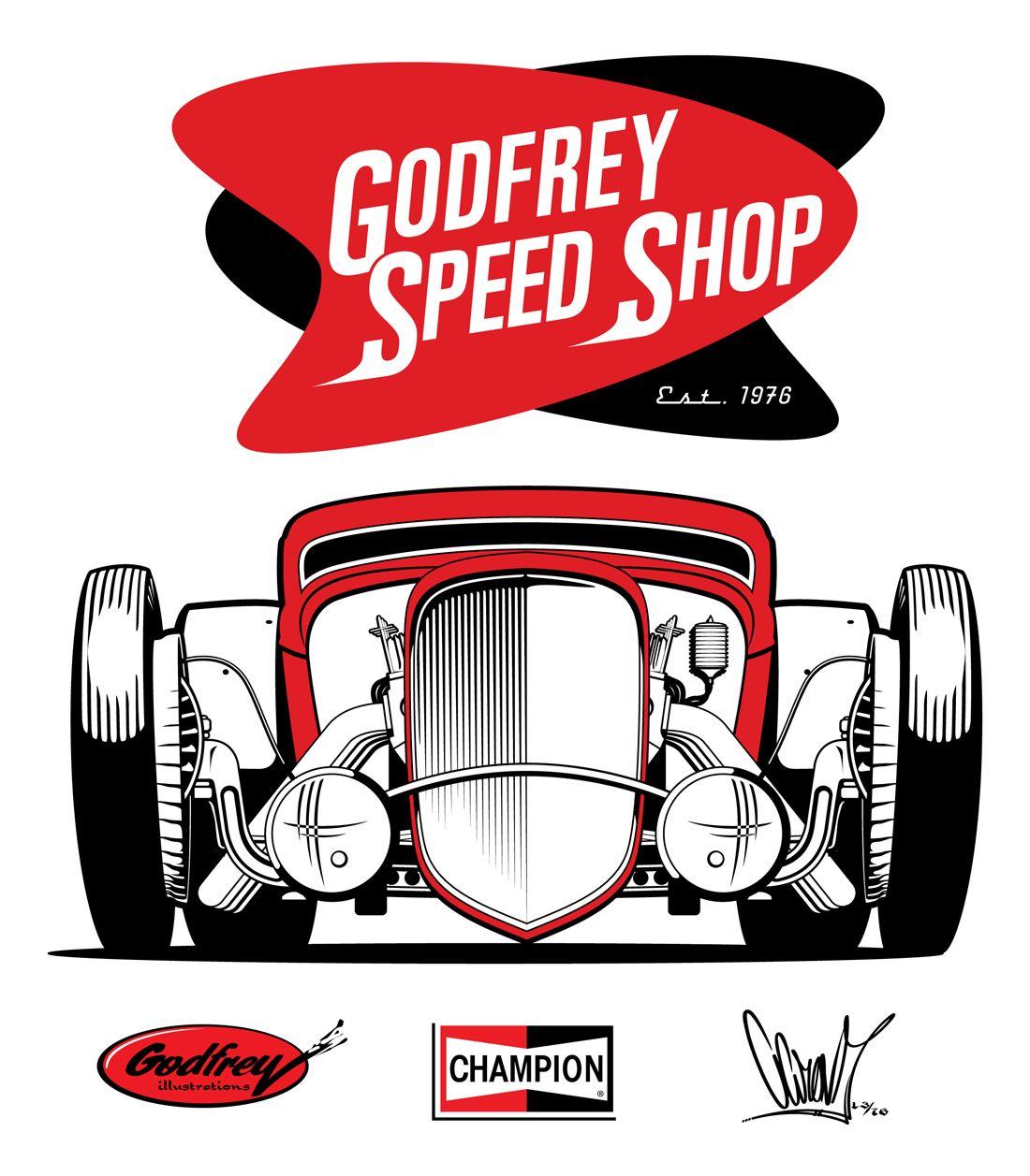 Godfrey speed shop cartoon pinterest arte de garaje for Logos de garajes