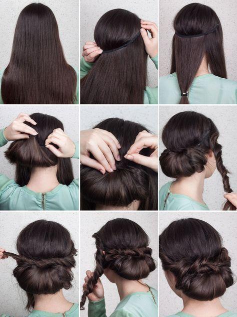 Eingedrehter Chignon Haarband Frisur Haarband Frisur Anleitung Haare Eindrehen