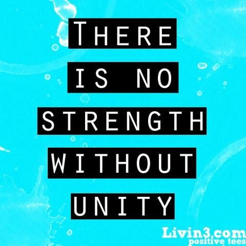 Leadership Quote There Is No Strength Without Unity Community