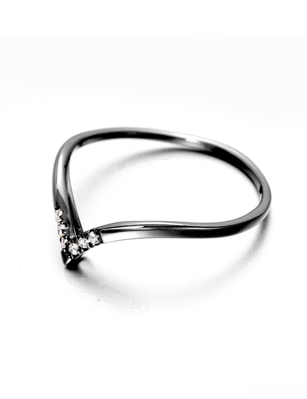 8c50e9033 Natural diamond ring for women, 14k gold black ring, Minimalist ...
