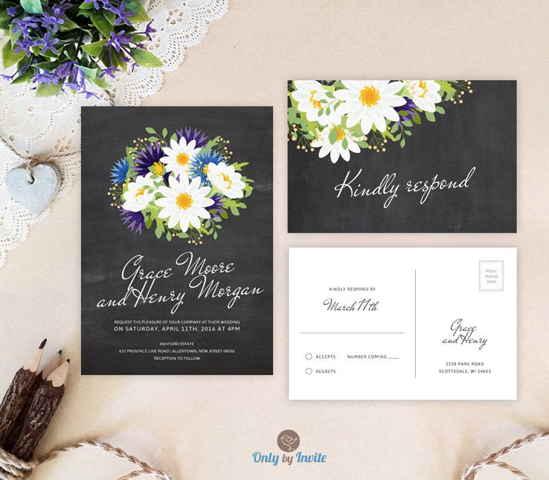 Chalkboard and daisy wedding invitation sets Floral wedding