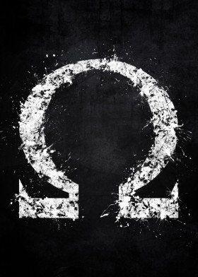 god war omega paint splat splatter white black symbol logo ...