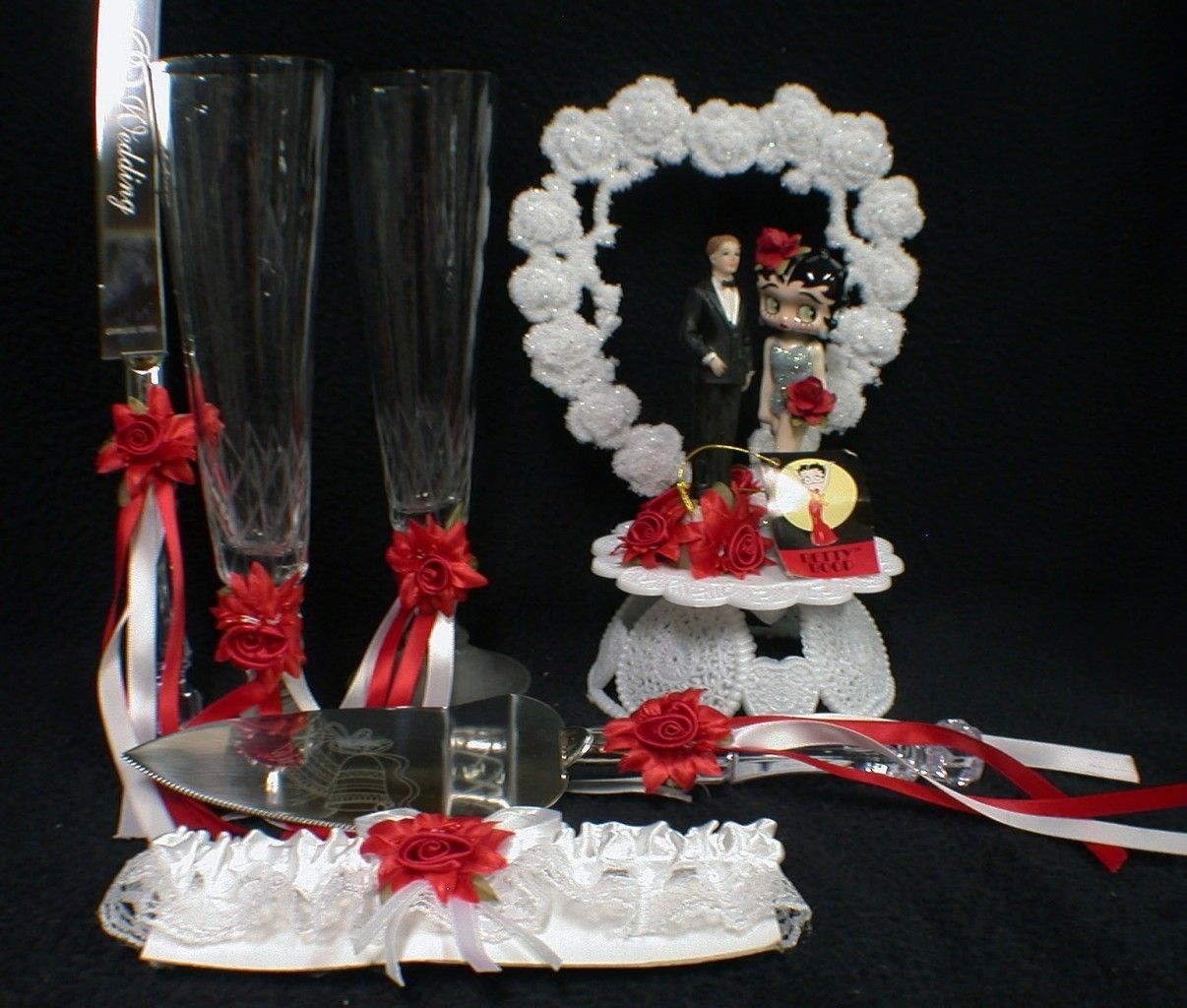 Sexy betty boop red silver wedding cake topper lot knife serve