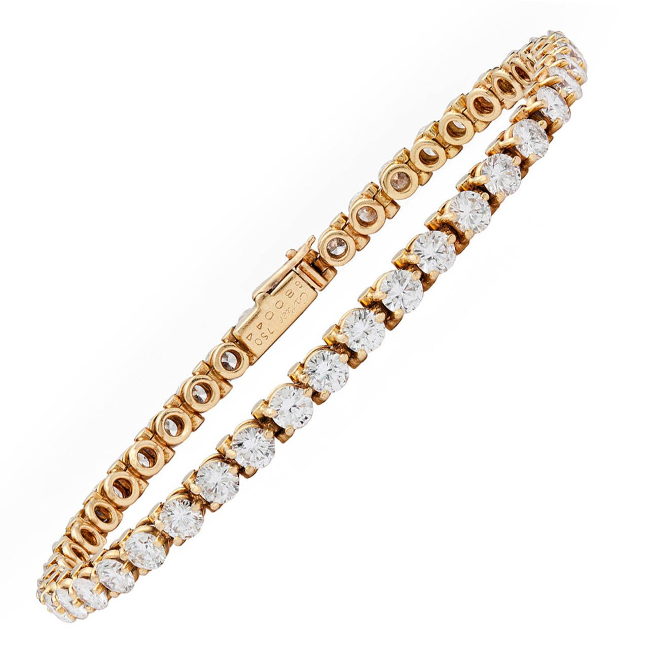 Cartier 6 30 Carat Diamond Gold Tennis Bracelet From A Unique Collection Of Vintage Bracelets