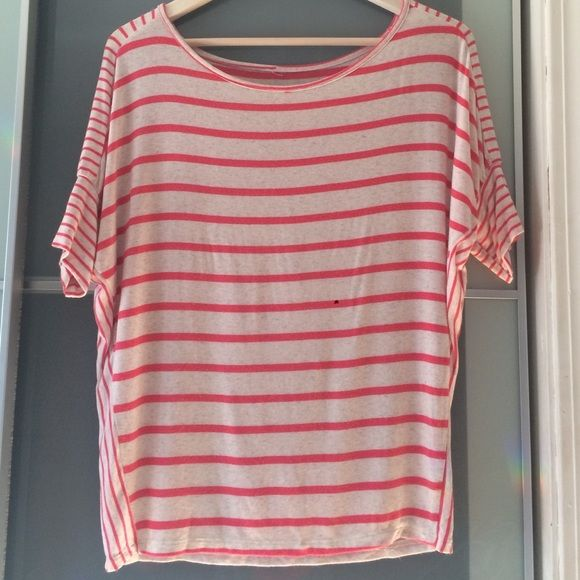 Striped Relaxed Tee Pink and nude colored striped shirt. Loosely fitted. Can be worn off one shoulder. I removed tag but it is medium. Would fit small-med-lrg. Tops Tees - Short Sleeve