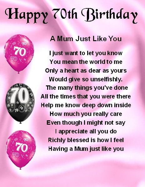 Details about Fridge Magnet Personalised Mum Poem 70th – 70th Birthday Verses for Cards