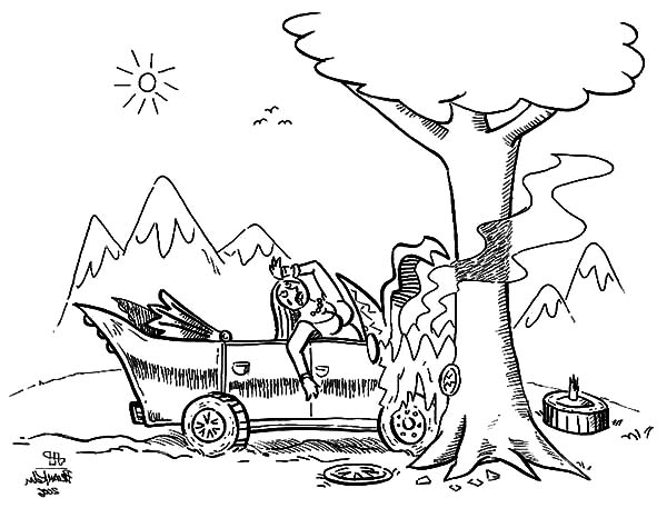 Woman Cars Crashed Coloring Pages Netart Coloring Pages Car Crash Cars Coloring Pages