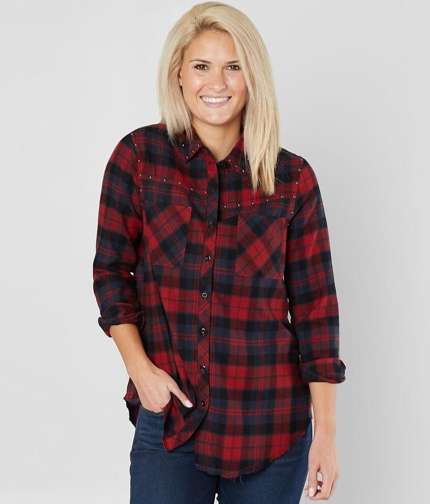 Bke studded flannel shirt womens shirtsblouses in red