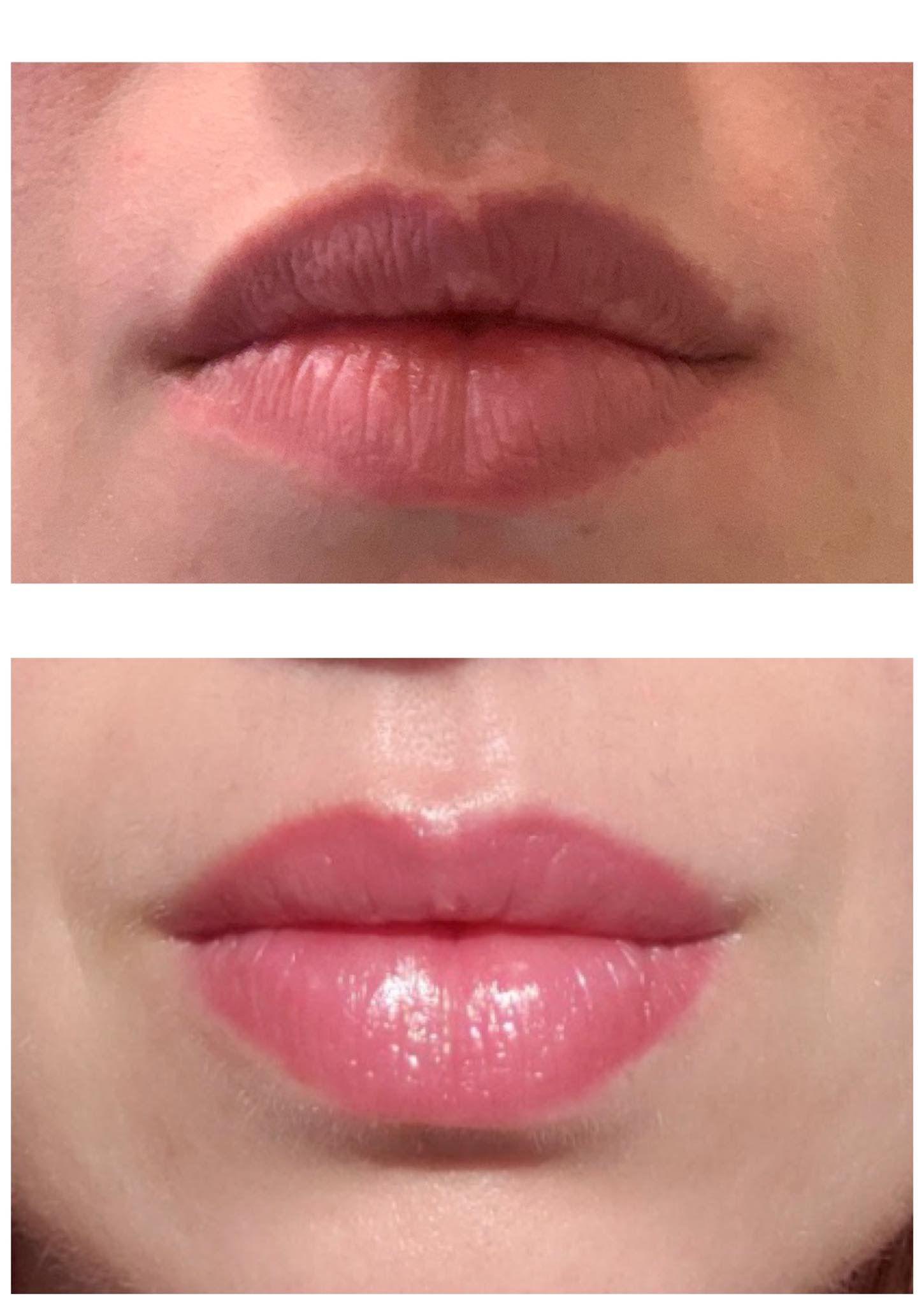 Healed full lip blush permanent cosmetics permanent