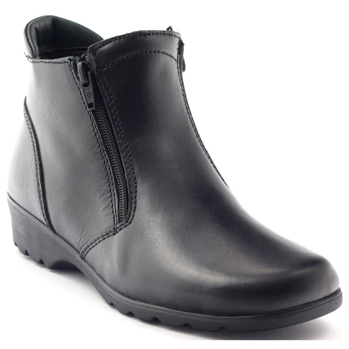 Aeros Botki Damskie Zimowe Skora 16 181 Czarne Winter Boots Women Boots Winter Boots