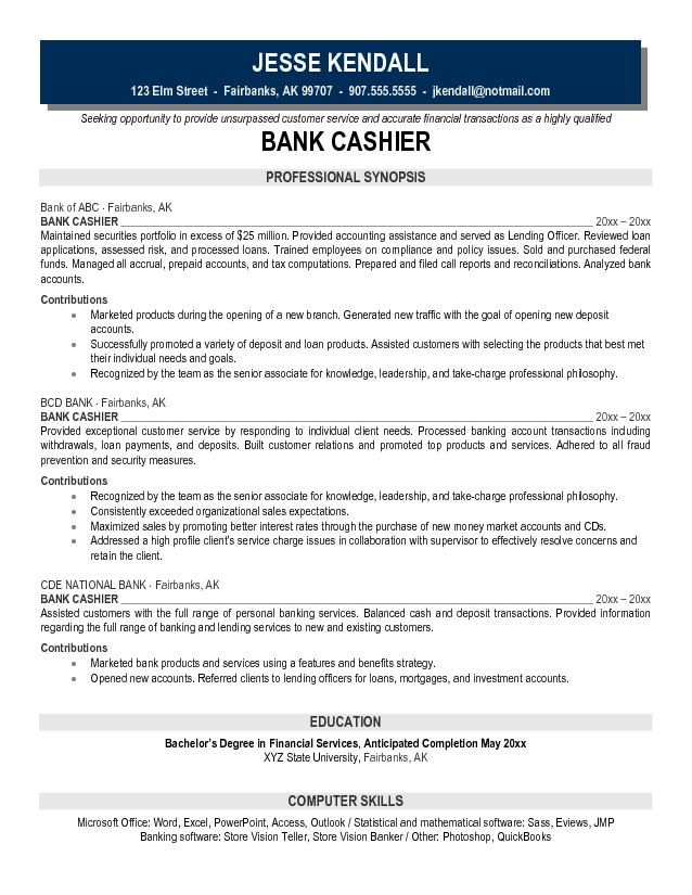 example bank cashier resume free sample investment banking - resume sample for cashier