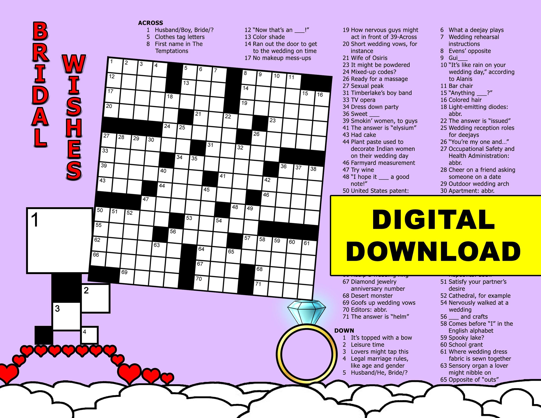 Bridal shower crossword 15x15 grid colordigital