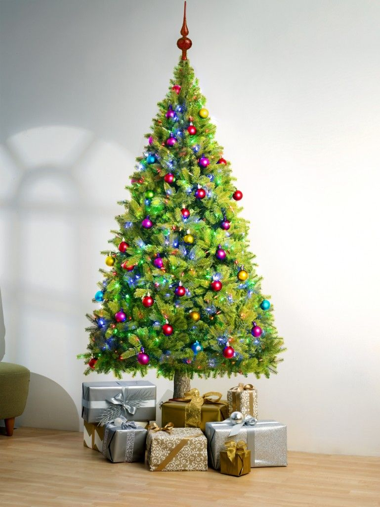 Green Multi Colored Christmas Tree - wall art decals peel and stick ...
