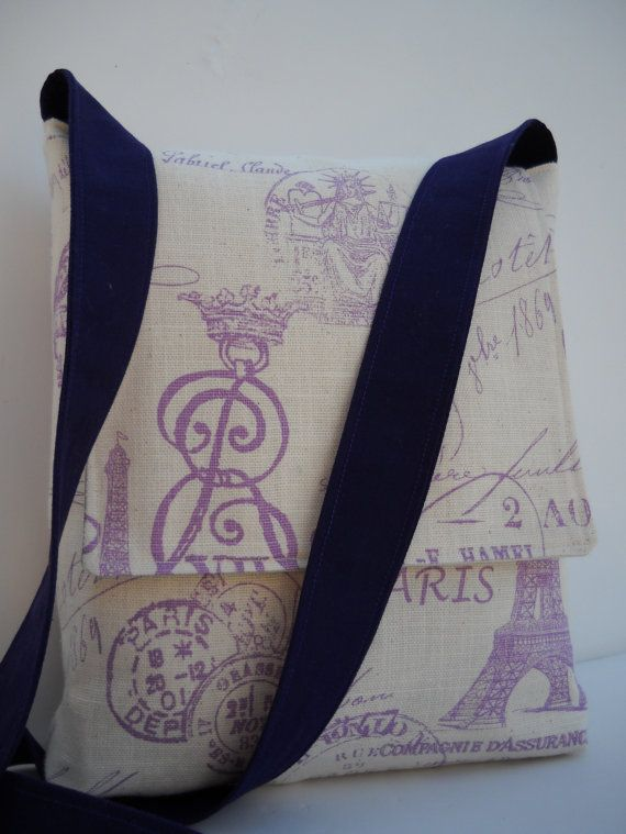 Messenger Bag / Crossbody Bag in Purple French Stamp