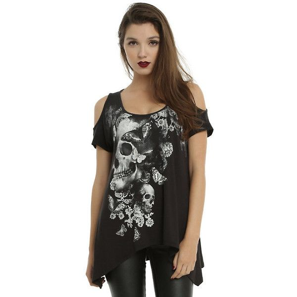 38e43e276e0fd Skull Butterfly Black Cold Shoulder Top Hot Topic ( 22) ❤ liked on Polyvore  featuring tops