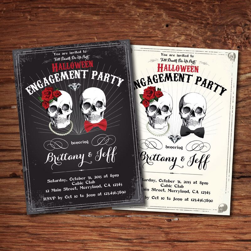 Halloween engagement party invitation. Rustic vintage skull, black ...