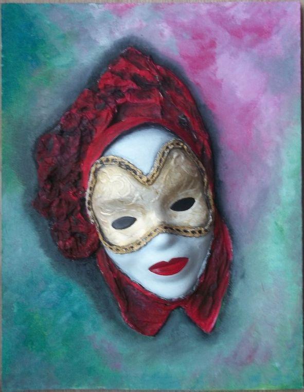 Masque de carnaval en relief (plâtre, papier, huile) ...sur bois   Masque carnaval, Peinture à l ...