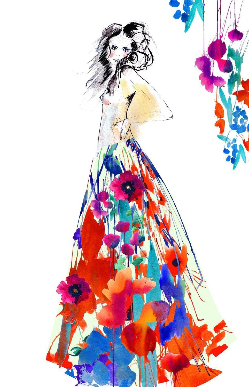 Dress Flowers Fashion Illustration