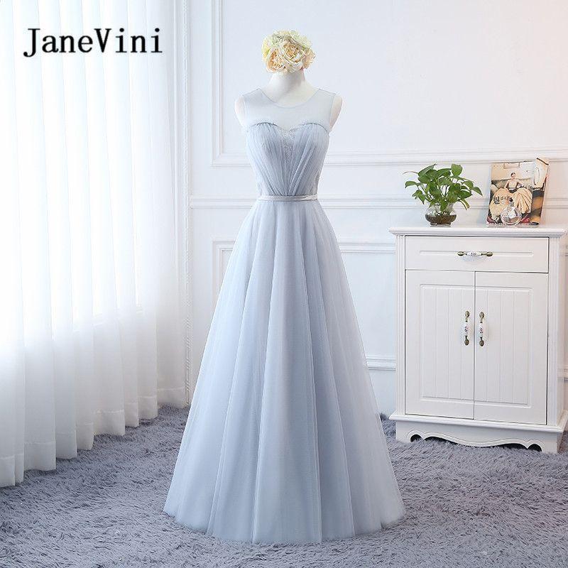 JaneVini 2018 Silber Grau Brautjungfer Kleid Sexy Lange Kleider Tüll ...